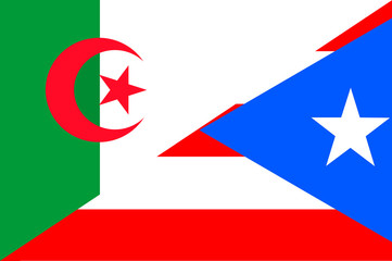 Waving flag of Puerto Rico and Algeria