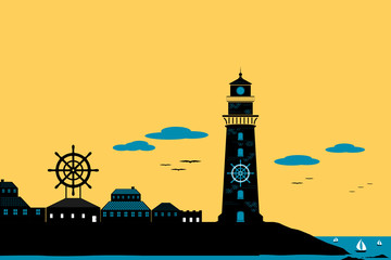 Lighthouse and  Town Silhouette Landscape Vector