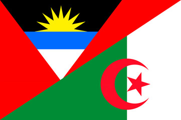 Waving flag of Algeria and Antigua and Barbuda