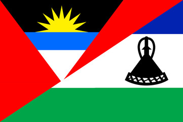 Waving flag of Lesotho and Antigua and Barbuda