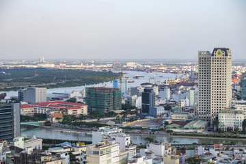 Aerial city view of houses and Business Center of Ho Chi Minh city on Sai Gon river. HoChiMinh city, Vietnam