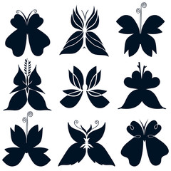 Set of black butterflies silhouette, butterfly icons, EPS 8