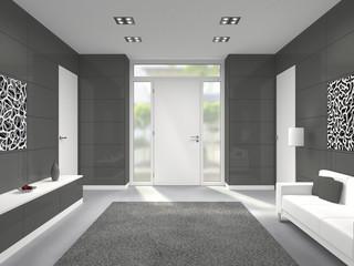 3D interior Rendering eines Hausflures mit Haustür von innen