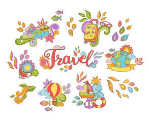 Doodle hand drawn sticker with travel