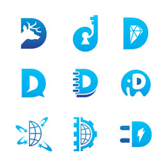 Letter D Design Element
