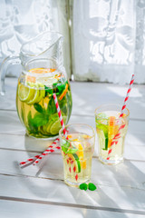 Healthy lemonade with citrus with in summer