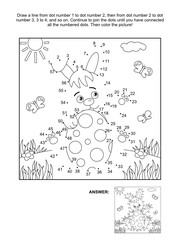 Easter themed connect the dots picture puzzle and coloring page with bunny and painted egg. Answer included.