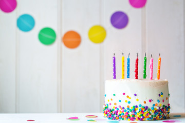 Wall Mural - Birthday cake with extinguished candles