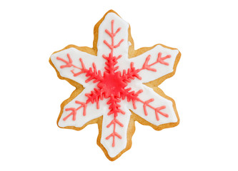 christmas cookie red snowflake isolated on white