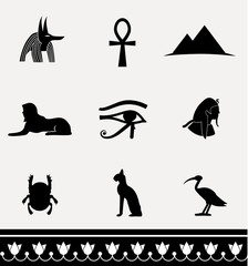 Symbols of Egypt - vector icon set.