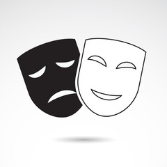 Drama, theatre, actor mask - vector icon.