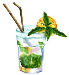 Watercolor mojito cocktail with mint, lemon, and drinking straws