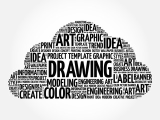 DRAWING word cloud, creative business concept background