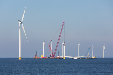 Construction site of offshore wind farm near the Dutch coast