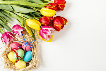 tulips and Easter eggs on a white background