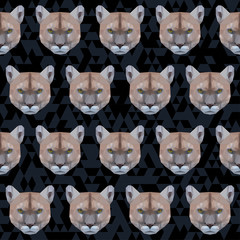 Abstract polygonal puma seamless pattern background