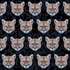 Abstract polygonal puma seamless pattern background