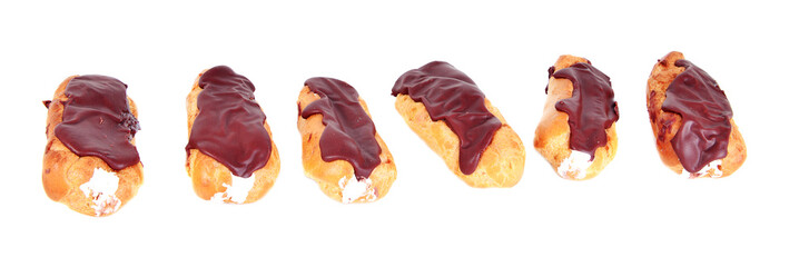 Six fresh Eclairs with chocolate