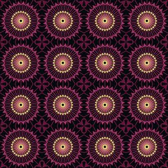 Seamless abstract pattern ornament with circle elements stylish texture on black background