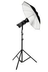 Studio flash with umbrella and stand isolated on white, clipping path