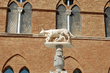 The Roman she-wolf, and children on a high pedestal