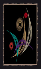 Tarot cards - back design, Peacock feathers