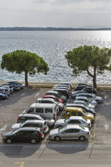 Car parking lot on the seafront