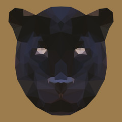 polygonal abstract geometric wild panther isolated on brown background