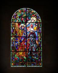 Poster Stained Sainte-Mère-Église: vitrail de la nativité.