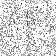 Zentangle stylized cartoon peacock with gorgeous feathers and royal crown. Sketch for adult antistress coloring page. Hand drawn doodle, zentangle, floral design elements for coloring book.