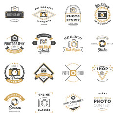 Set of Photography Logo Design Templates. Photography Retro Badges and Labels. Black and Golden Colors. Wedding Photography. Photo Studio. Camera Shop. Photography Community