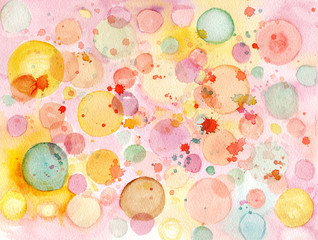 Abstract watercolor background texture with pastel colored bubbles
