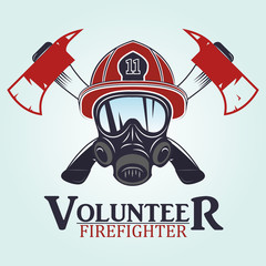 firefighter emblems, labels, badges and logos on light background.  .vector illustration