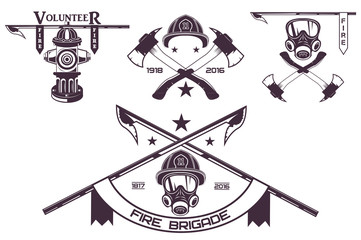Set of firefighter emblems, labels, badges and logos on light background. Monochrome style.vector illustration