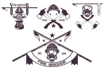 Set of firefighter emblems, labels, badges and logos on light background. Monochrome style.vector illustration