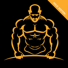 fitness logo. men's club. sports man. vector