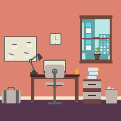 Stylish Business Working Office Room Background Desk City Window and vase File Cabinet Retro Cartoon Design