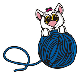 face, head, mask, tangle, thread, playing, knitting, isolated, cartoon, toy, illustration, animal, pet, fauna, greeting, cat, kitten