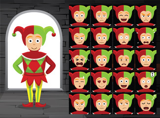 Medieval Harlequin Cartoon Emotion Faces Vector Illustration