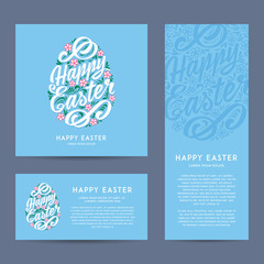 Set of Happy Easter greeting Cards, hand-drawing Lettering