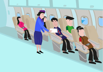 Illustration of an interior of an airplane with  passengers and flight attendant. Editable Clip Art.