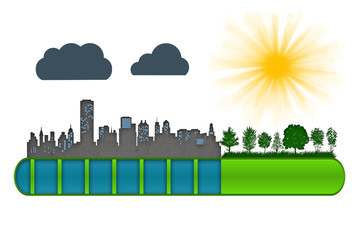 Environment and ecology concept. Loading bar of city urbanization and pollution against green nature.