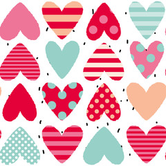 Valentines day hearts on the white background. Vector seamless pattern for home decor. Pink, red, mint and white colors. Striped and polka dots patterns.