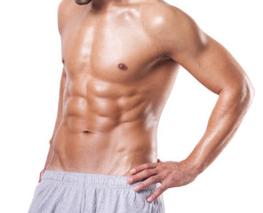 Fit man with beautiful torso, isolated on white background