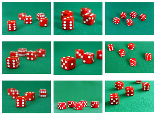 collection collage red dice number game play cube