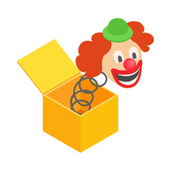 Clown jumps out of the box icon