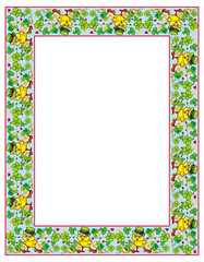 Clover frame and funny yellow chick in green hat. Vector clip art.
