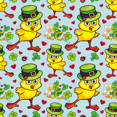Seamless pattern with funny yellow chick in green hat. Vector clip art.