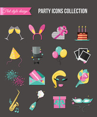 Holiday and party icons set with colorful balloons, cake, invitation, gift box. Flat style design. Vector illustration.