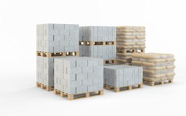 Concrete blocks isolated on white background